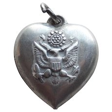 1940s Sterling Army Sweetheart Puffy Heart Charm