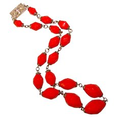 Fabulous Faceted RED GLASS BEADS Chain Wired Vintage Necklace