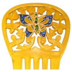 Fabulous Antique BUTTERFLY Design Rhinestone HAIR COMB