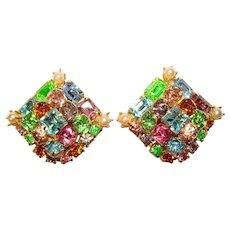 Fabulous Vintage COLOR MIX Rhinestone Clip Earrings