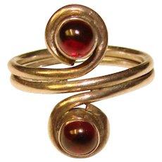 Gorgeous STERLING & GARNET Bezel Set Stones Estate Ring