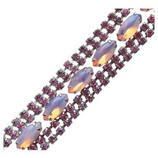 Gorgeous Pink Opalescent Stones Rhinestone Vintage Bracelet