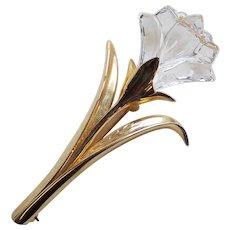 Swarovski Signed Crystal Flower Brooch - Swan Mark