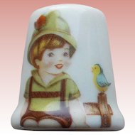 Vintage Boy & Bird Porcelain Estate Thimble