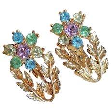 Coro Pastel Rhinestone Flower Earrings