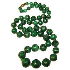Fabulous MALACHITE Beads Estate Necklace
