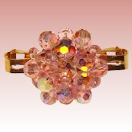Gorgeous PINK AURORA Crystal Scarf Clip