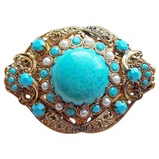 West Germany Turquoise Glass & Rhinestone Vintage Brooch