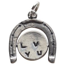Sterling Spinner Secret Message Vintage Charm - I Love You Mechanical Movable