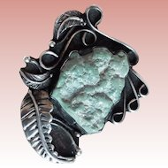 Fabulous Sterling & Light Green Turquoise Vintage Pendant