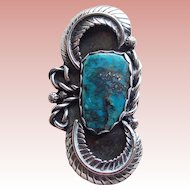 Fabulous Sterling & Turquoise Vintage Pendant