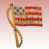 Signed AMERICAN FLAG Rhinestone Vintage Pin Brooch