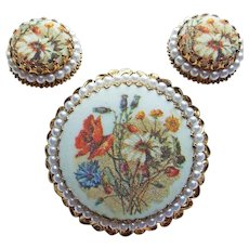 Fabulous West Germany Floral Sugar Stone Vintage Brooch Set