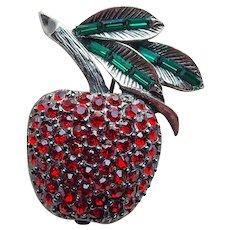 Gorgeous Pell Rhinestone Fruit Vintage Brooch - Cherry or Apple