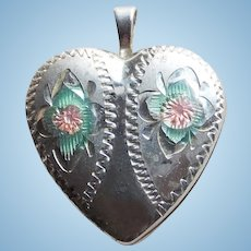 Small Sterling Heart Vintage Locket with Enamel - For Doll or You