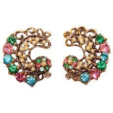 Gorgeous MULTI COLOR Rhinestone Vintage Clip Earrings