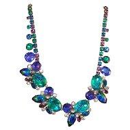 Vintage Signed HOBE Designer Costume Jewelry Necklace w/Peacock Art Glass Stones