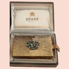EXCEPTIONAL Rare Evans Compact Combination Purse In Original Box w/Rhinestones