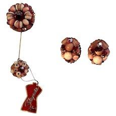 Charming Beaded Schiaparelli Flower Stickpin And Earrings w/Original Tag!