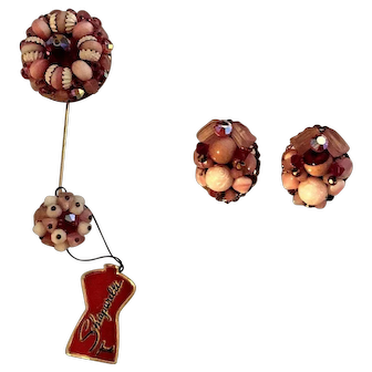 Charming Beaded Schiaparelli Flower Stickpin And Earrings w/Original Tag!