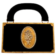 Vintage Evans Necessaire Compact, Coin & Cigarette Holder Velvet & Rhinestones!