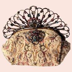 Josef Signed Micro Beaded Tapestry HOBE Jeweled Frame Vintage Handbag or Purse!