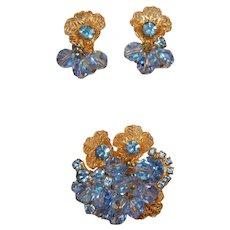 Shimmering Juliana D&E Filigree Faceted Crystal Bead/Rhinestone Brooch/Earrings