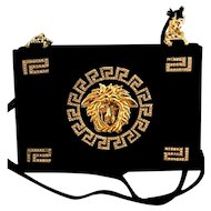 Vintage Gianni Versace Rhinestone Embedded Medusa Black Handbag or Purse! 80's