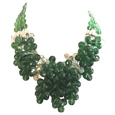 Vintage French Glass Cluster Bead Green & Crystal GLORIOUS Drippy Necklace