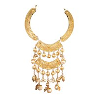 Vintage Signed Kenneth Lane Acorn & Imitation Pearl Dbl. Tiered Dangle Necklace