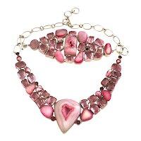 Sterling Silver Pink Sliced Geode Druzy Agate Necklace & Bracelet Set!