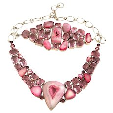 Sterling Silver Pink Sliced Geode Druzy Agate Necklace & Bracelet Set!