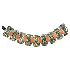 Ravishing Vintage Matisse Enamel On Copper Link Bracelet! Gorgeous Colors
