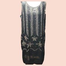 RARE Original 20's Beaded & Rhinestone Hand Decorated Flapper Dress!!