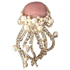 """Pink Glass Huge """"Jelly Fish"""" with Simulated Pearl & Rhinestone Tentacles Brooch Moans"""