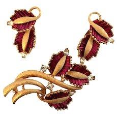 Exceptional Signed Pennino Fuchsia Baguette & Rhinestone Brooch & Earring Set!