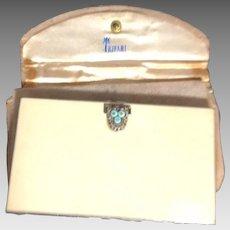 Rare Alfred Philippe Crown Trifari Enamel & Rhinestone Cigarette Case in Holder