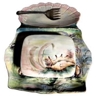 Vintage T&V Limoges Sea Life Sea Shell Gorgeous Sardine Dish, Cover & Fork