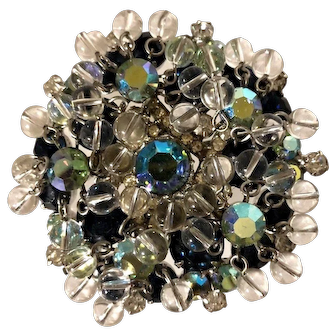 Juliana DeLizza & Elster Exceptional AB Rhinestone Crystal Bead Covered Brooch!