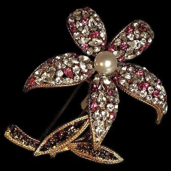 RARE France Depose Dimensional Massive Flower Pink & Crystal Rhinestone Fur Pin