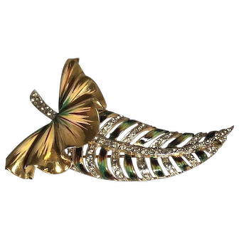 """Museum Quality Sterling Silver Coro Craft Enameled Exquisite Long """"Leaf"""" Brooch"""