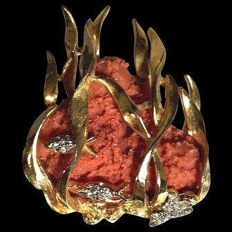 RARE Boucher Signed Vintage Coral Reef Figural Brooch w/Rhinestone Fish Seaweed