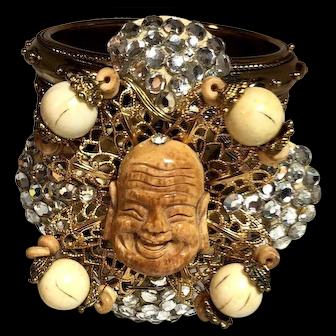 MOUTHWATERING-Enormous-Lawrence-Vrba-Smiling-Buddha-Rhinestone-Cuff-Bracelet