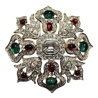 """MAGNIFICENT Moghul """"Jeweled"""" Kenneth Lane Exceptional Large Brooch!"""