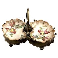 Royal Doulton England Antique Victorian Sweetmeat Plated Server w/Painted Trays
