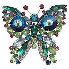 Juliana DeLizza & Elster Exceptional Vintage Figural Iridescent Butterfly Brooch