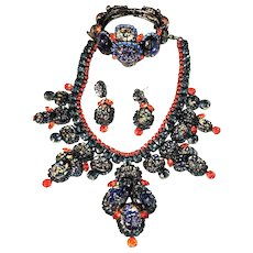 Thorin & Co.  FABULOUS Iridescent Foil Art Glass Bib Necklace, Cuff And Earring Set!