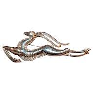 Reja Sterling Silver Leaping Gazelle/Impala Art Deco Style Vintage Brooch