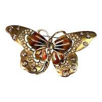 RARE Vintage Reja Enameled Butterfly Figural Faux Pearl Embedded Brooch