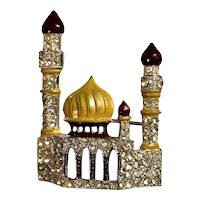 RARE ORA Taj Mahal Figural Rhinestone Embedded & Richly Enameled Brooch